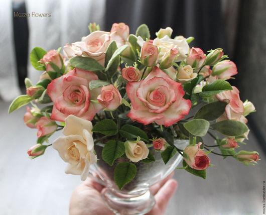 """Букеты ручной работы. Ярмарка Мастеров - ручная работа. Купить Букет """"Винтажные розы"""" из полимерной глины.. Handmade. Разноцветный"""