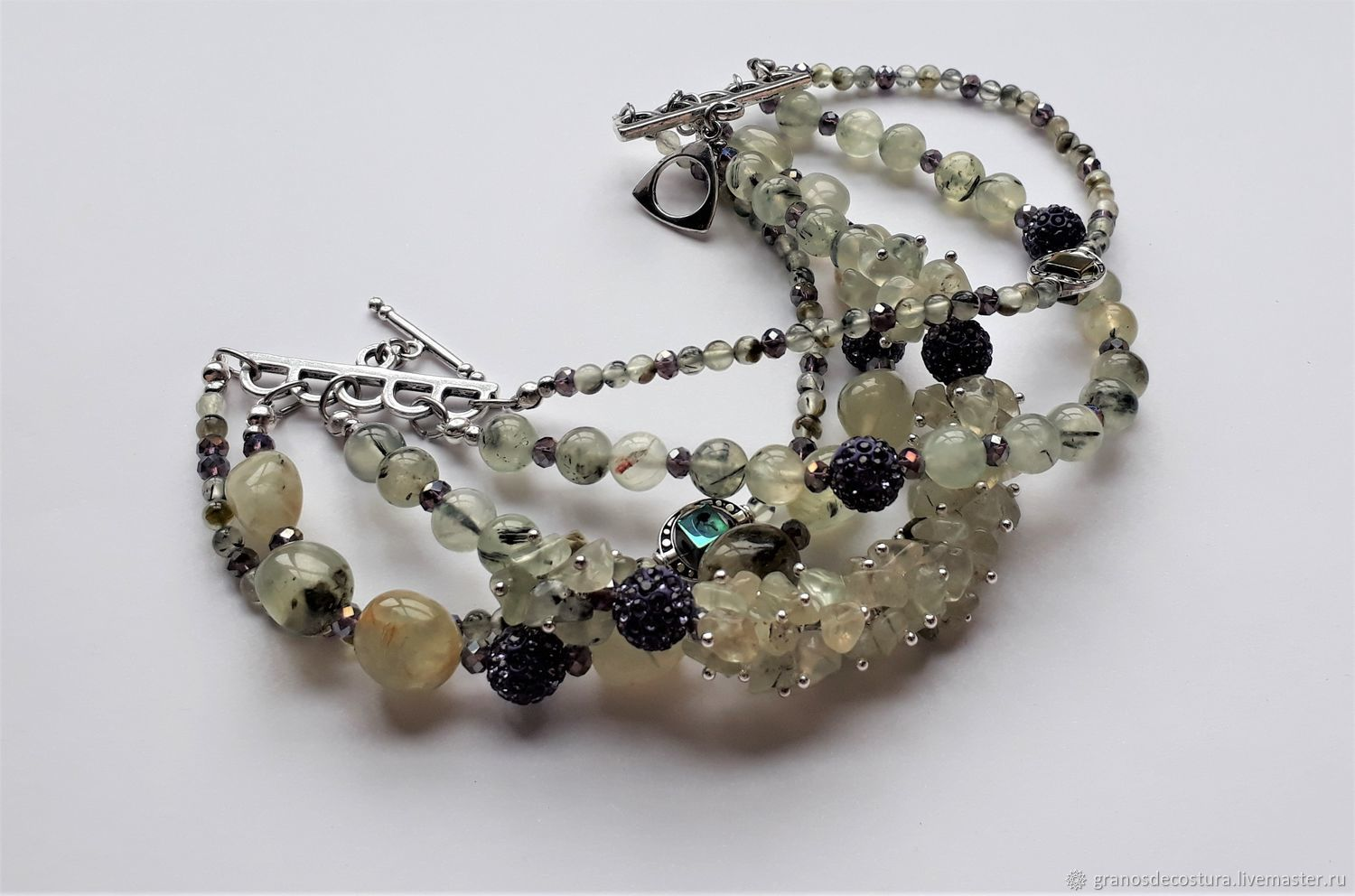 Bracelet made of natural prenite with the addition of clay beads with rhinestones, Bead bracelet, Krasnodar,  Фото №1