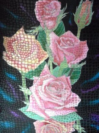 Шали, палантины ручной работы. Ярмарка Мастеров - ручная работа. Купить Розы на черном.( шейный шарфик). Handmade. Батик
