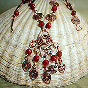 Украшения handmade. Livemaster - original item Necklace and earrings of copper and carnelian Rowanberry. Handmade.