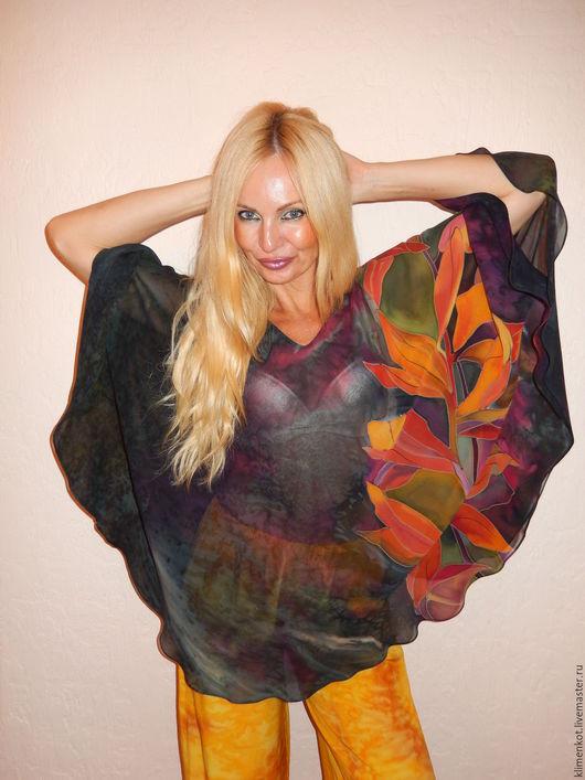 Блузки ручной работы. Ярмарка Мастеров - ручная работа. Купить блуза круглая- Оранжевые листья. Handmade. Темно-серый, блузка