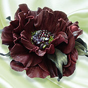 Украшения handmade. Livemaster - original item Leather flowers. Decoration brooch hairpin CHERRY. Burgundy flower. Handmade.