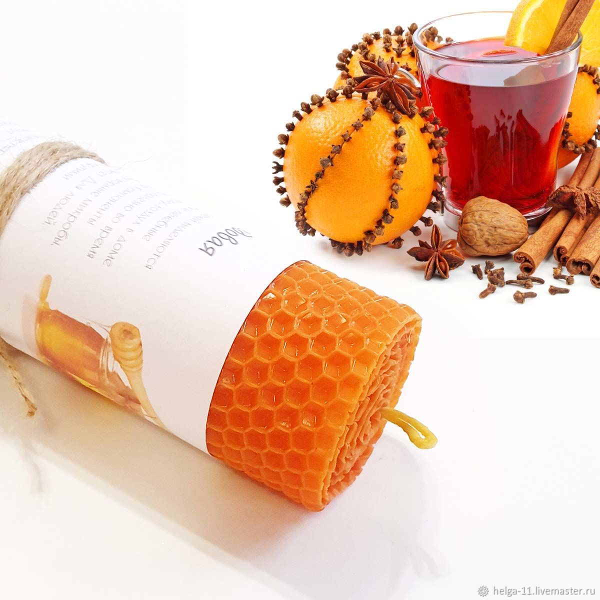 Candle honey orange Warming mulled wine 13h4,7,  cm, Candles, St. Petersburg,  Фото №1