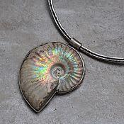 Украшения handmade. Livemaster - original item Silver necklace with ammonium, silver and brass. Handmade.