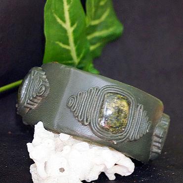 Decorations handmade. Livemaster - original item Leather bracelet with coil.. Handmade.