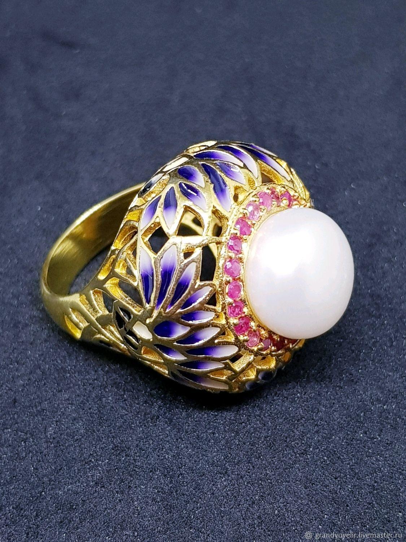 Кольца ручной работы. Ярмарка Мастеров - ручная работа. Купить 'Жемчужина Востока' роскошное кольцо с натуральной жемчужиной. Handmade.