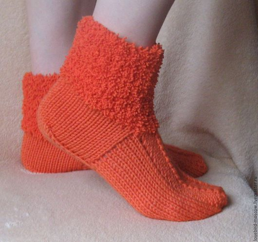 """Обувь ручной работы. Ярмарка Мастеров - ручная работа. Купить Домашние тапочки  (носки)  """" Рыжики"""". Handmade. Рыжий"""