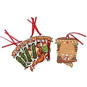 """Подарки к праздникам ручной работы. Ярмарка Мастеров - ручная работа Новогодние теги для подарка """"Новогоднее веселье"""", 7,5 х 10 см, 5 штук. Handmade."""