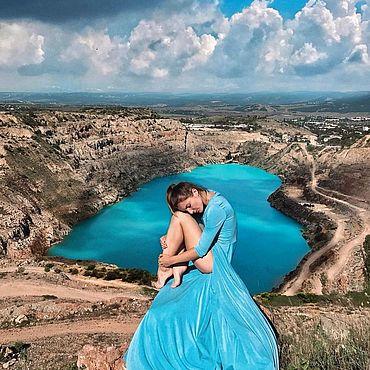 Одежда ручной работы. Ярмарка Мастеров - ручная работа Платье с юбкой-полусолнце Небесное. Handmade.