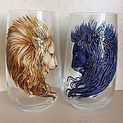 Посуда handmade. Livemaster - original item Crystal glasses Lions. Handmade.