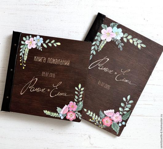 """Свадебные фотоальбомы ручной работы. Ярмарка Мастеров - ручная работа. Купить Свадебная книга пожеланий в деревянной обложке """"цветочная"""". Handmade."""