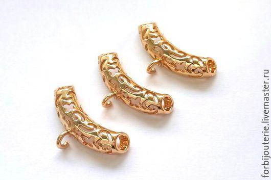 076 Бейл длинный из латуни с позолотой. Высококачественное покрытие gold filled. Для украшений ручной работы. Южная Корея.