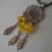 """Фен-шуй и эзотерика ручной работы. Ярмарка Мастеров - ручная работа Ловец снов """"Солнечный"""" подвеска, ловец снов, желтый, янтарь. Handmade."""