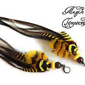 Украшения handmade. Livemaster - original item Sunny yellow feather earrings pheasant and rooster.. Handmade.