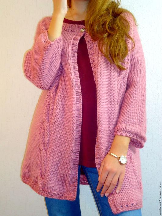 Кофты и свитера ручной работы. Ярмарка Мастеров - ручная работа. Купить Кардиган на одной пуговке. Handmade. Розовый, джемпер вязаный