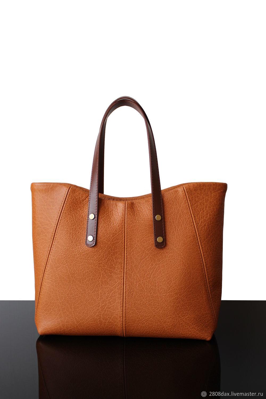 Orange leather shopping bag, women's bag, Classic Bag, Bordeaux,  Фото №1