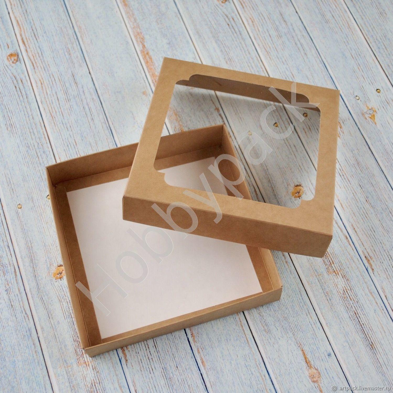 Коробка Е2.1 крышка/дно с окном, 14,5 х 14,5 х 3 см, Коробки, Москва,  Фото №1