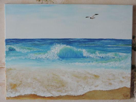 """Пейзаж ручной работы. Ярмарка Мастеров - ручная работа. Купить Картина маслом """"Море и чайка"""". Handmade. Комбинированный, 30х40, чайка"""