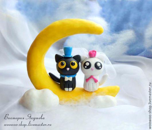 Свадебные аксессуары ручной работы. Ярмарка Мастеров - ручная работа. Купить Свадебные фигурки на торт Коты на луне. Handmade. Желтый