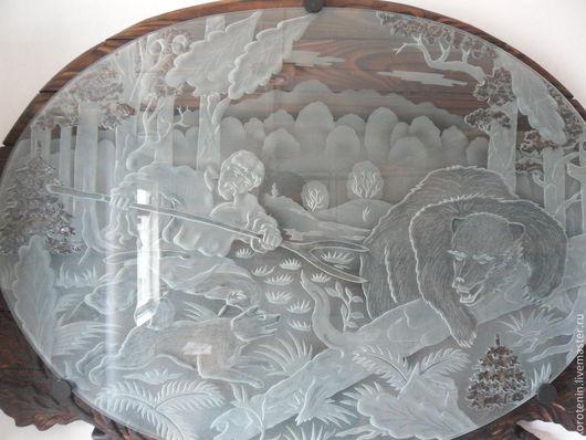 """Животные ручной работы. Ярмарка Мастеров - ручная работа. Купить Картина на стекле """"Охота на медведя"""" Картина смотрится объемно. Handmade."""