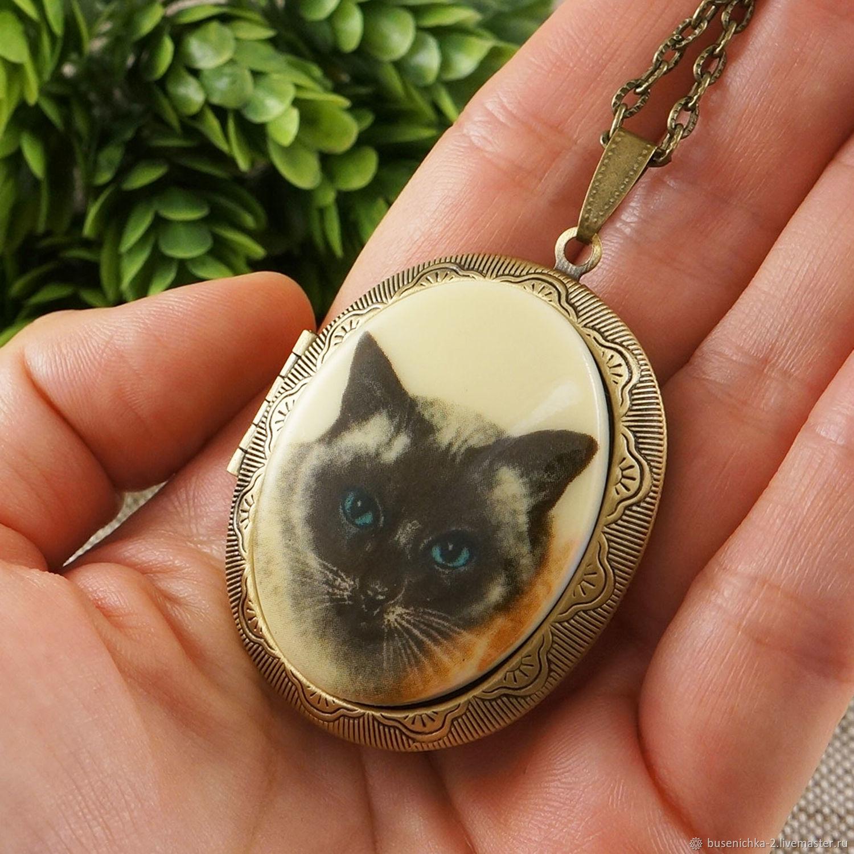 Медальон Сиамский Кот бежевый, Кулон, Москва,  Фото №1