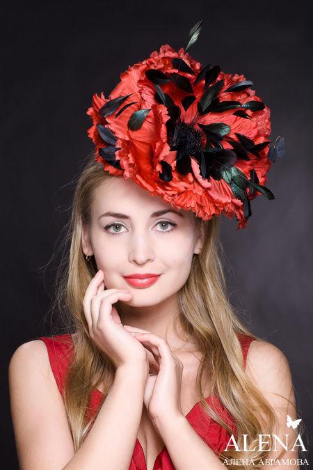 Шляпы ручной работы. Ярмарка Мастеров - ручная работа. Купить Цветы из ткани - Мак сногсшибательный. Handmade. Шляпка для скачек
