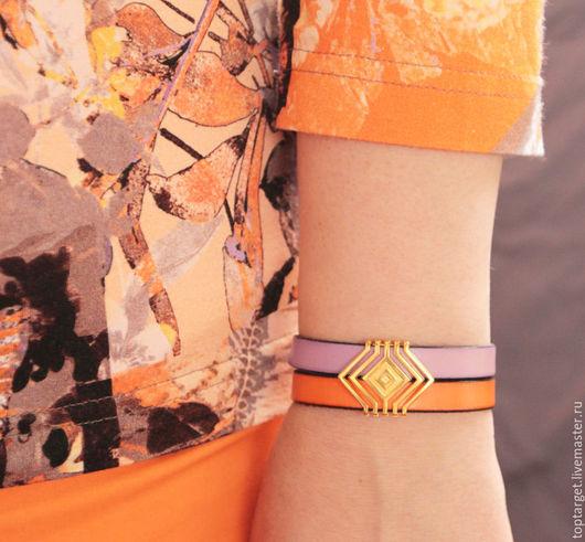 """Браслеты ручной работы. Ярмарка Мастеров - ручная работа. Купить Кожаный браслет """"Luxury"""". Handmade. Оранжевый, браслет"""