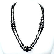 Работы для детей, handmade. Livemaster - original item Long beads natural black agate. Handmade.
