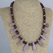 Украшения handmade. Livemaster - original item Necklace with pendants made of natural stones lepidolite and kunzite