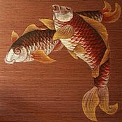 """Картины и панно ручной работы. Ярмарка Мастеров - ручная работа Рулонная штора - панно """"Вот это рыбы!"""". Handmade."""