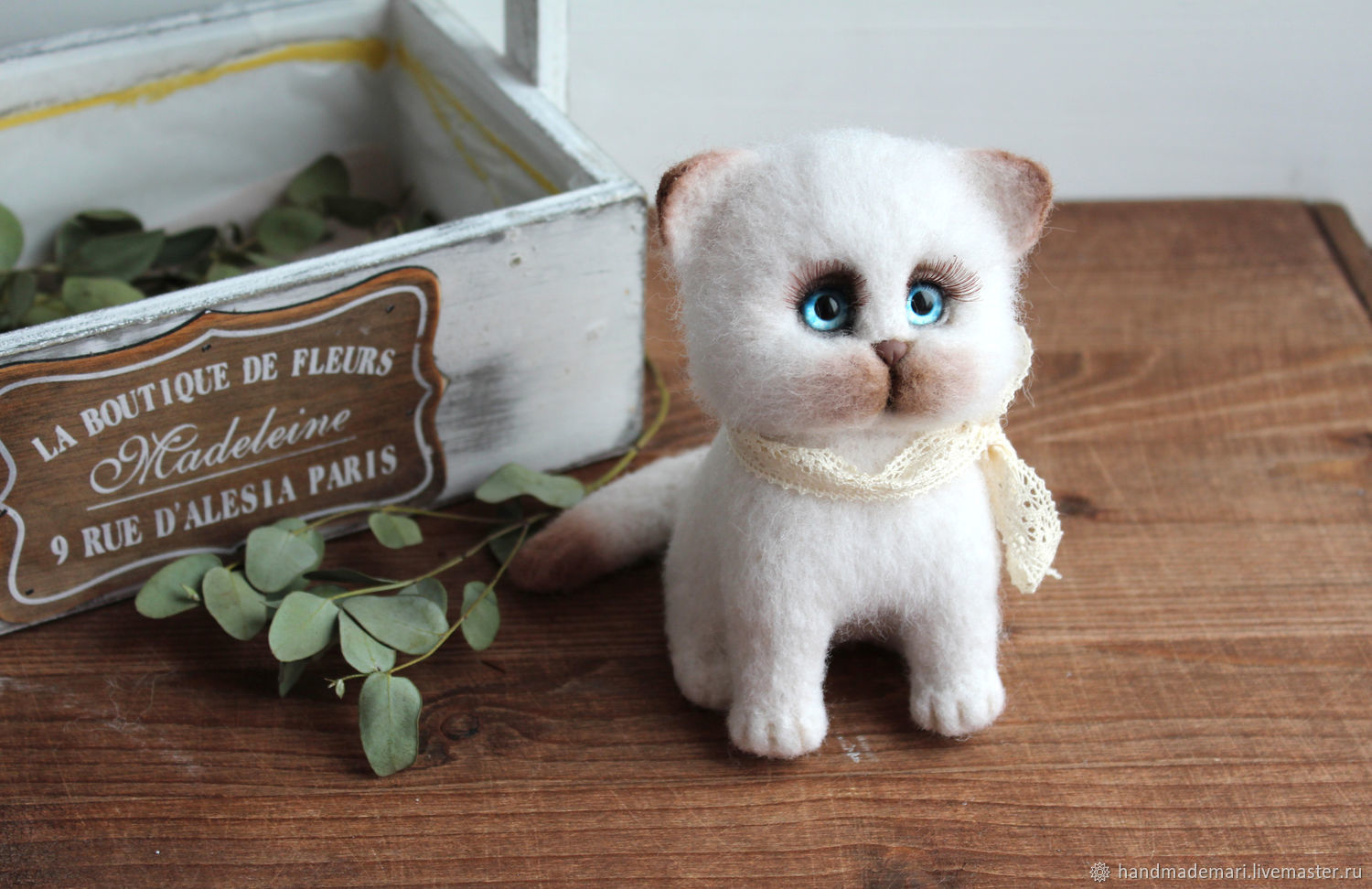 Siamese kitten puffy toy made of wool, Felted Toy, Moscow,  Фото №1
