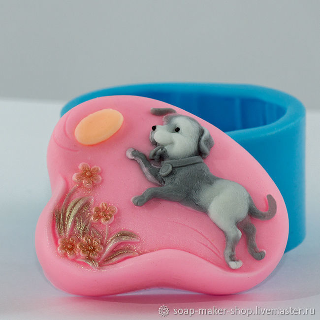 Silicone mold for soap 'Puppy Frisbee 2D', Form, Shahty,  Фото №1