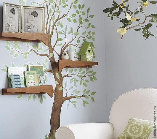 Декор поверхностей ручной работы. Ярмарка Мастеров - ручная работа. Купить роспись дерева с полочками в гостинной. Handmade. Роспись стены