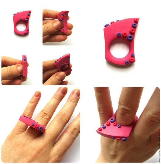 """Кольца ручной работы. Ярмарка Мастеров - ручная работа. Купить Розовое кольцо """"Розовый авангард"""" из полимерной глины. Handmade. Розовый"""