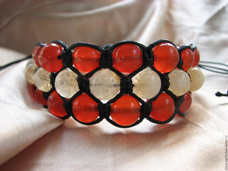 Shamballa bracelet with carnelian and citrine triple 'a Bright light', Bead bracelet, Moscow,  Фото №1
