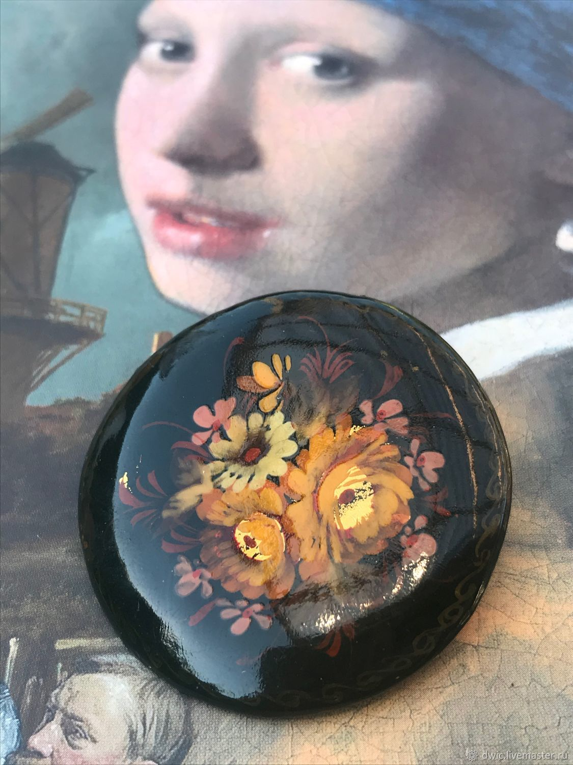 Brooch 'Golden autumn', wood, lacquer, hand-painted, USSR, Vintage brooches, Arnhem,  Фото №1