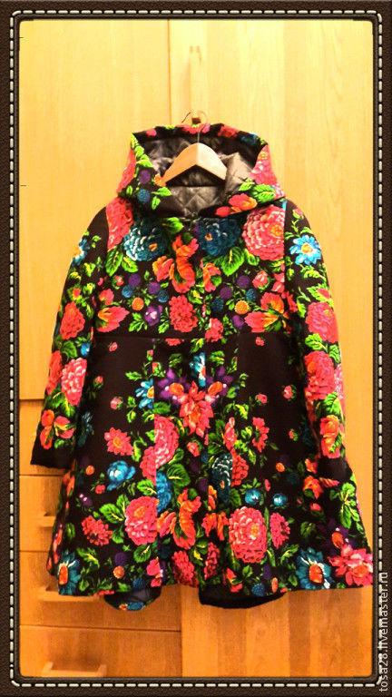 Верхняя одежда ручной работы. Ярмарка Мастеров - ручная работа. Купить Пальто Ежевичка. Handmade. Цветочный, пальто, одежда из платков