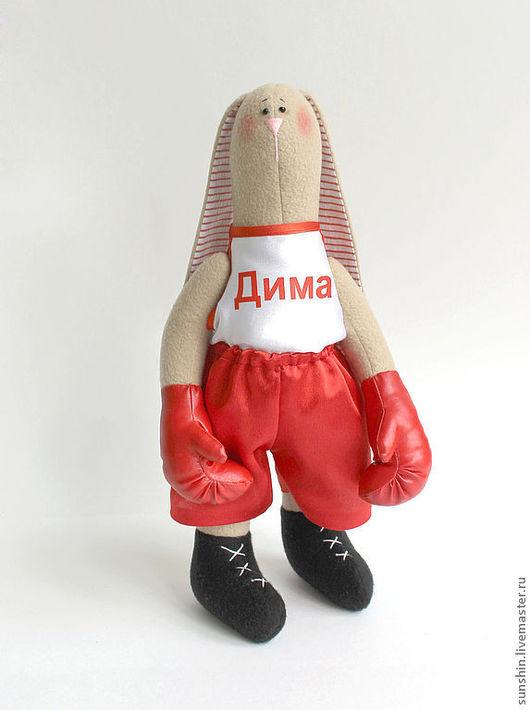 Куклы Тильды ручной работы. Ярмарка Мастеров - ручная работа. Купить Зайка боксер. Handmade. Ярко-красный, текстильный заяц