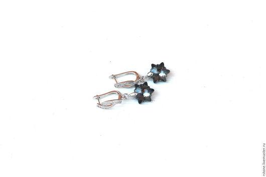 Серьги Сваровски (Swarovski) кристаллы подвески звезды `Эдельвейс`