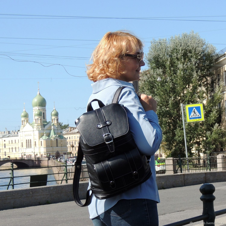 Leather backpack female black Express Mod R11-111, Backpacks, St. Petersburg,  Фото №1