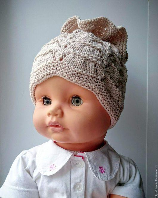 """Для новорожденных, ручной работы. Ярмарка Мастеров - ручная работа. Купить Шапочка вязаная для девочки """"Моя конфетка"""". Handmade. Бежевый"""