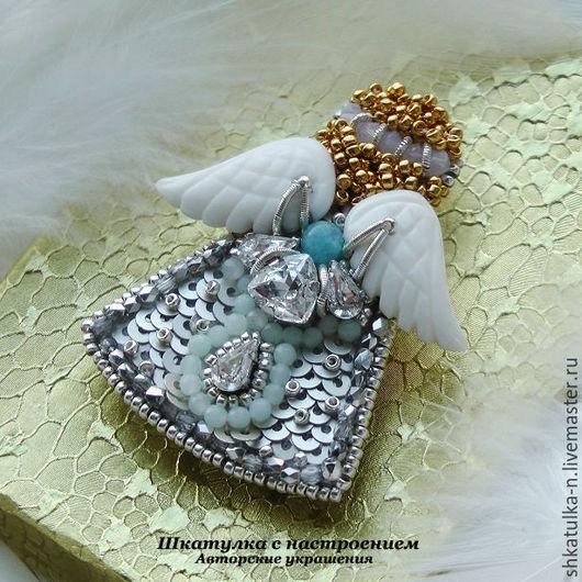 """Броши ручной работы. Ярмарка Мастеров - ручная работа. Купить Брошь """"Ангел"""". Handmade. Серебряный, ангел-хранитель, вышитые украшения"""