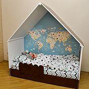 """Для дома и интерьера ручной работы. Ярмарка Мастеров - ручная работа Кровать-домик """"Little Home"""" с принтом-картой. Handmade."""