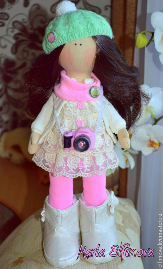 Коллекционные куклы ручной работы. Ярмарка Мастеров - ручная работа. Купить Кукла фотограф. Handmade. Бежевый, интерьерная кукла, hendmade