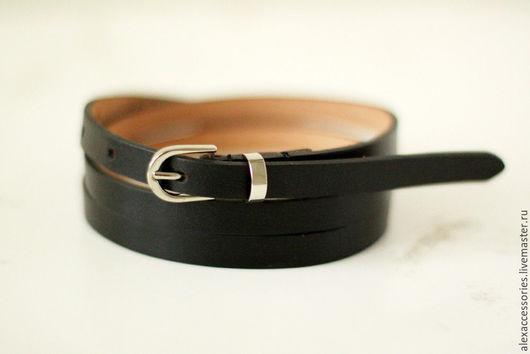 Пояса, ремни ручной работы. Ярмарка Мастеров - ручная работа. Купить Узкий кожаный черный ремень. Handmade. Кожаный ремень