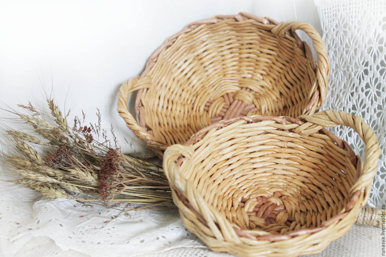 Baskets, set of 'dried flowers',a wicker basket with handles for serving, Basket, Rybinsk,  Фото №1