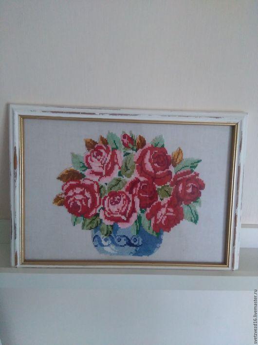 """Картины цветов ручной работы. Ярмарка Мастеров - ручная работа. Купить """"Розы""""  Душевная работа. Handmade. Ярко-красный"""