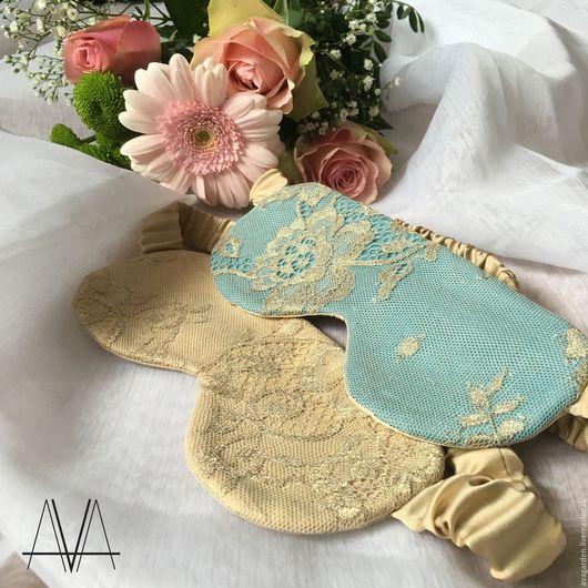 Шелковые маски для сна с декором из золотистых французских кружев от Ava Garden