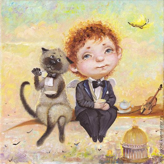 Картина Белые ночи.Ангелочек и Кот. Чаепитие