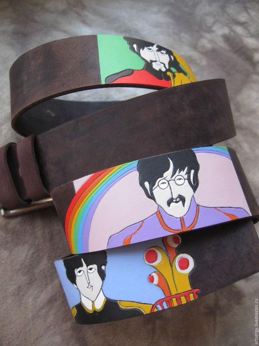 Пояса, ремни ручной работы. Ярмарка Мастеров - ручная работа. Купить BEATLE'YELLOW'SUB ремень кожаный. Handmade. The beatles, рок